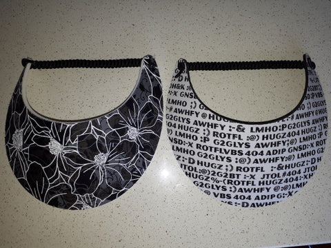 Sun Visors -Typo and Black/White Floral