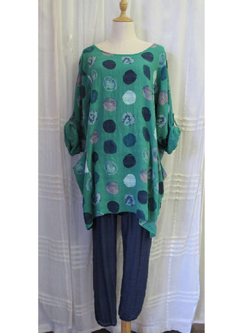Green with Spots Top, [product type], Lullaby New Zealand