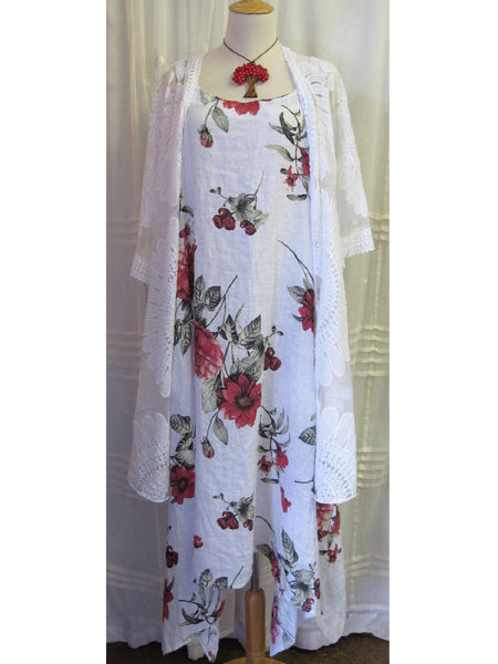 White Rose Floral Linen Dress, [product type], Lullaby New Zealand