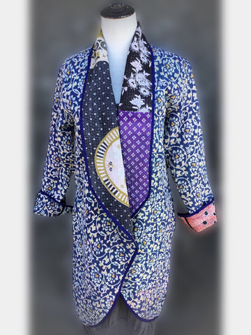 Reversible Coat - Blue with floral print