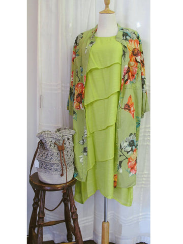 Lime Silk Blend Dress, [product type], Lullaby New Zealand