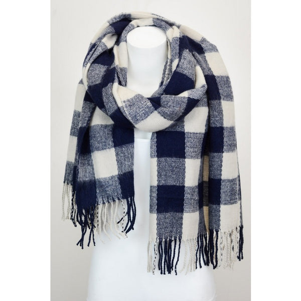 Knitted Checkered Scarf, [product type], Lullaby New Zealand