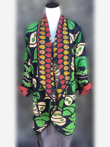 Reversible Coat - Green with red and yellow