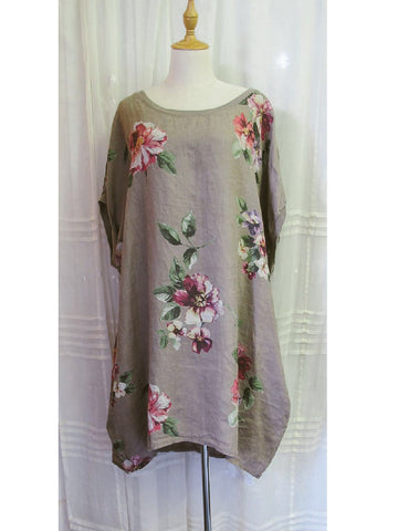 Linen Tunic Dress Floral, [product type], Lullaby New Zealand