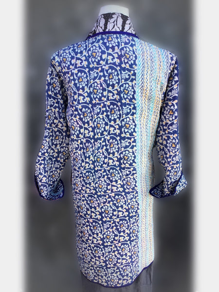 Reversible Coat - Blue with floral print, [product type], Lullaby New Zealand