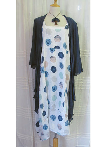 White Linen Dress with Spots, [product type], Lullaby New Zealand