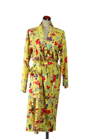 Kimono Bird Robe - Yellow, [product type], Lullaby New Zealand