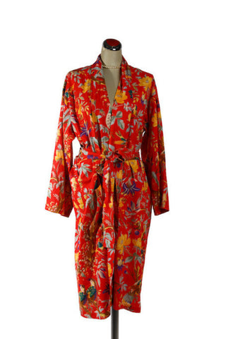 Kimono Bird Robe - Red, [product type], Lullaby New Zealand