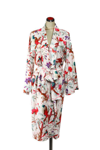Kimono Bird Robe - Off White, [product type], Lullaby New Zealand