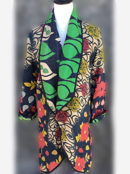 Reversible Coat - Green with red and yellow, [product type], Lullaby New Zealand