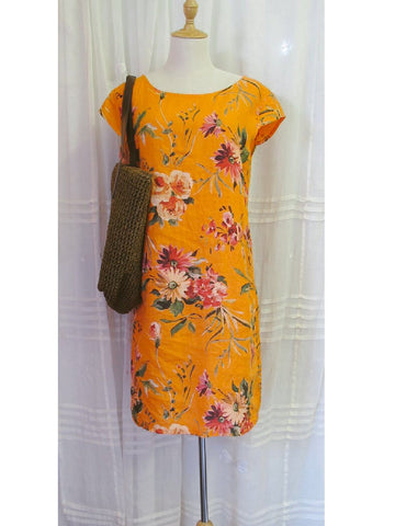 Orange Floral Linen Dress, [product type], Lullaby New Zealand