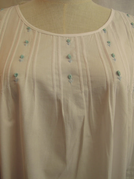 Pintuck Nightdress with Blue Flower Embroidery, [product type], Lullaby New Zealand