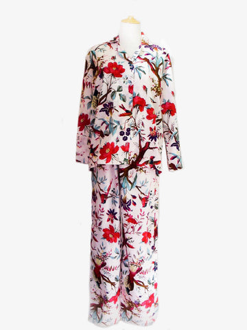 Bird of Paradise Cotton Pyjamas - White, [product type], Lullaby New Zealand