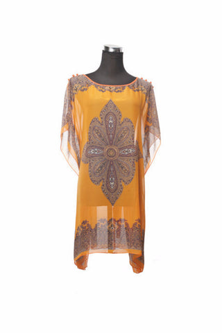 Silk Kaftan Top - Orange - Kaftan -  - Lullaby New Zealand