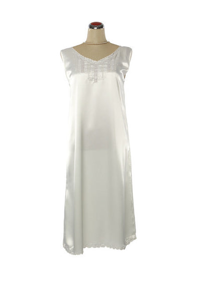 Silk Satin Fleur Nightdress - Nightdress - Small / White - Lullaby New Zealand - 4