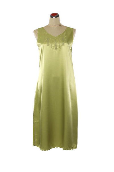 Silk Satin Fleur Nightdress - Nightdress - Small / Green - Lullaby New Zealand - 3