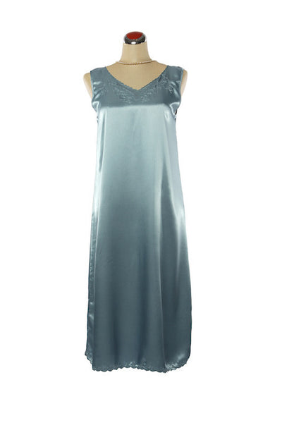 Silk Satin Fleur Nightdress - Nightdress - Small / Blue - Lullaby New Zealand - 2