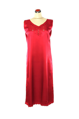 Silk Satin Fleur Nightdress - Nightdress - Small / Red - Lullaby New Zealand - 1