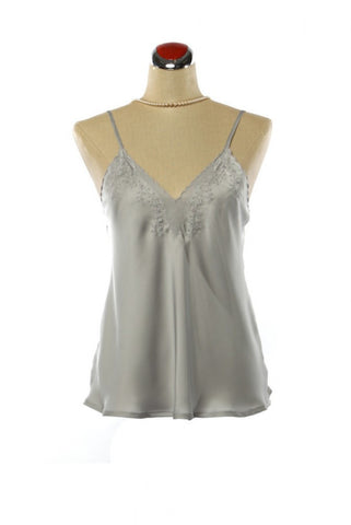 Silk Camisole - Nightdress - Small / Silver - Lullaby New Zealand - 3