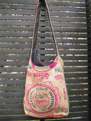 Jute Bag - Himalaya - Green/Pink, [product type], Lullaby New Zealand