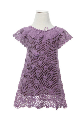 Crochet Dress - Dress - Purple / 3-4 yr - Lullaby New Zealand - 1