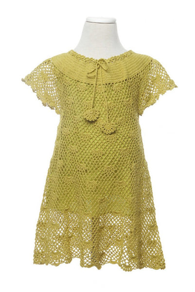 Crochet Dress - Dress - Green / 3-4 yr - Lullaby New Zealand - 2