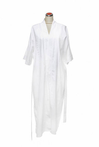 Cotton Robe, with white embroidery, [product type], Lullaby New Zealand