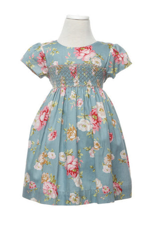 Rose Smocked Dress - Lullaby Mulberry New Zealand - 1