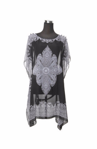 Silk Kaftan Top - Black/White - Kaftan -  - Lullaby New Zealand
