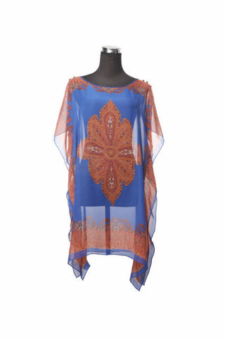 Silk Kaftan Top - Blue, [product type], Lullaby New Zealand