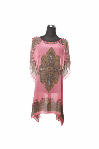 Silk Kaftan Top - Blush - Kaftan -  - Lullaby New Zealand