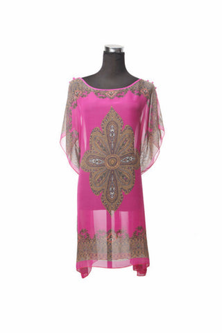Silk Kaftan Top - Hot Pink - Kaftan -  - Lullaby New Zealand