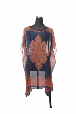 Silk Kaftan Top - Navy/Gold - Kaftan -  - Lullaby New Zealand