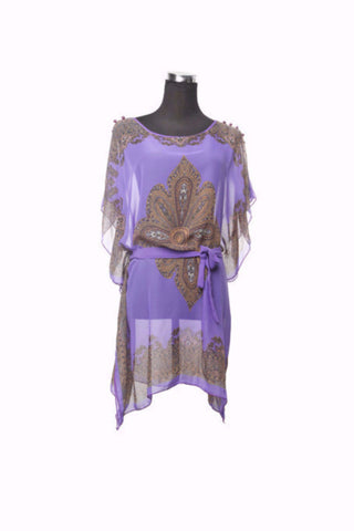 Silk Kaftan Top - Purple - Kaftan -  - Lullaby New Zealand
