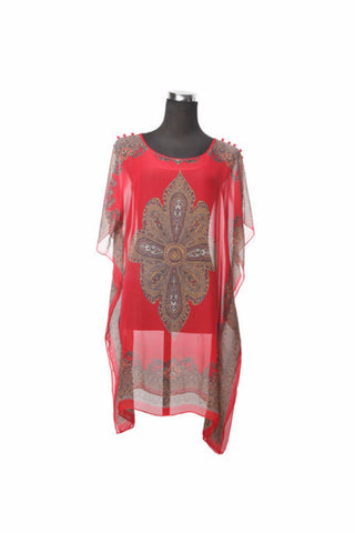 Silk Kaftan Top - Red - Kaftan -  - Lullaby New Zealand