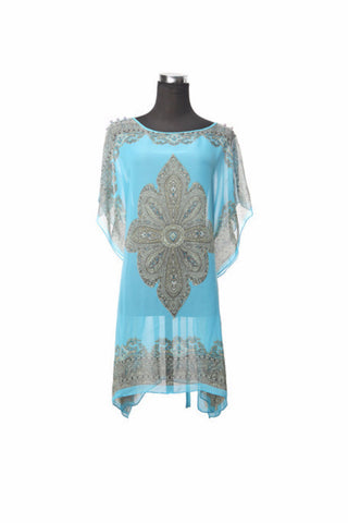 Silk Kaftan Top - Aqua - Kaftan -  - Lullaby New Zealand