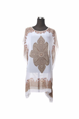 Silk Kaftan Top - White - Kaftan -  - Lullaby New Zealand