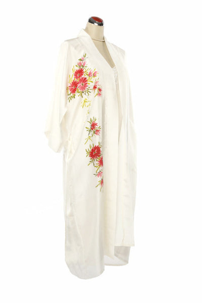 Kimono Style Silk Robe - Night Robe - One Size / Pink Flowers - Lullaby New Zealand - 5