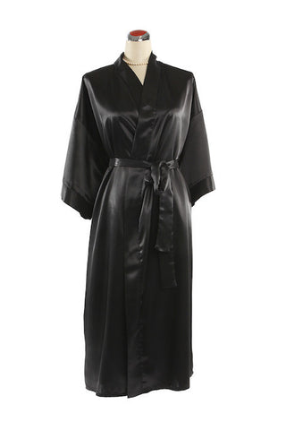 Silk Satin Kimono Robe - Night Robe - Black / Small-Medium - Lullaby New Zealand - 2