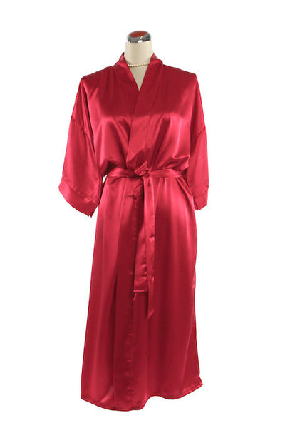 Silk Satin Kimono Robe - Night Robe - Red / Small-Medium - Lullaby New Zealand - 4