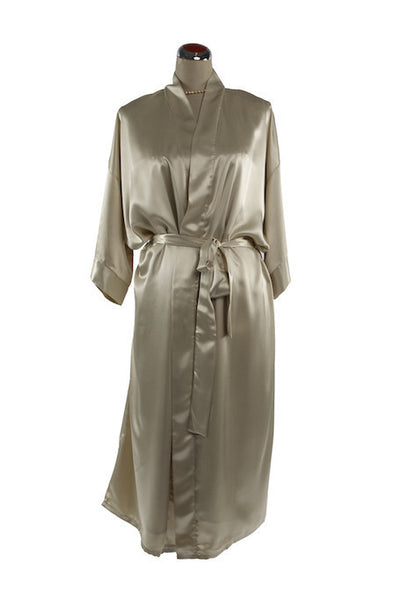 Silk Satin Kimono Robe - Night Robe - Champagne / Small-Medium - Lullaby New Zealand - 3