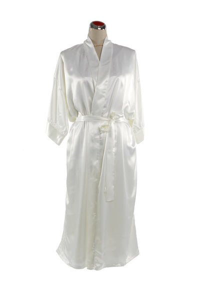 Silk Satin Kimono Robe - Night Robe - White / Small-Medium - Lullaby New Zealand - 1