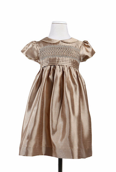 Alice Silk Gold - Dress -  - Lullaby New Zealand - 1
