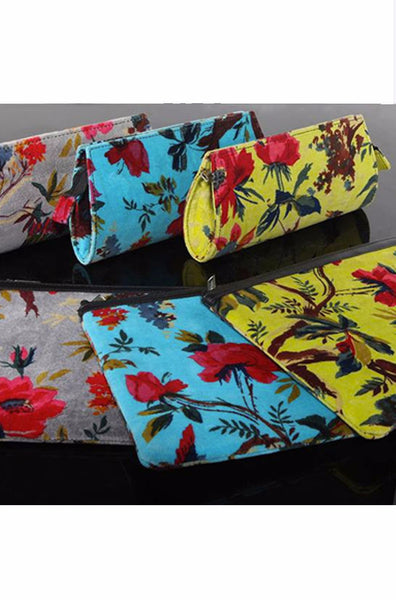 Floral Velvet Clutch Bag, [product type], Lullaby New Zealand