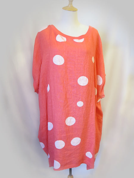 Baggy Linen Tunic - Polka Dots, [product type], Lullaby New Zealand