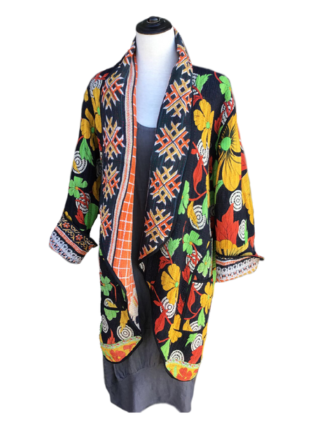 Reversible Coat - Orange and Black