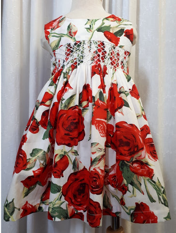 Rose Dress with Smocking