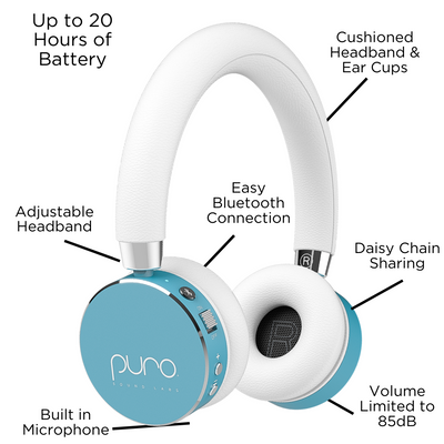 BT2200 Volume Limited Bluetooth Headphones for Kids and Teens with Built-In Mic