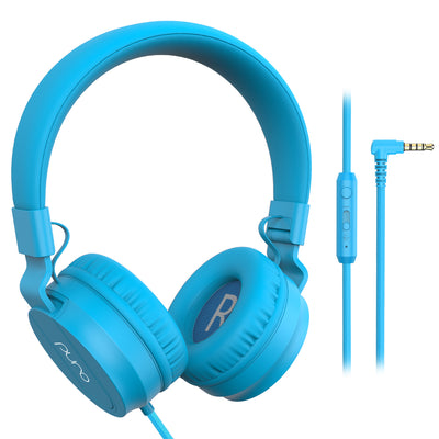 PuroBasic Wired Volume Limited Headphones-Blue