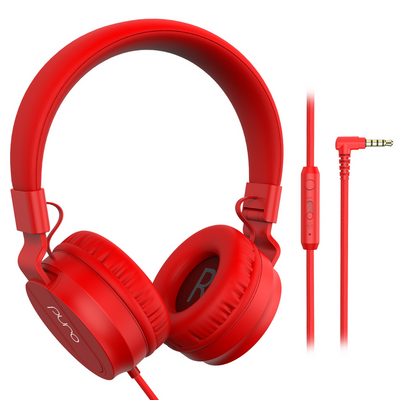 PuroBasic Wired Volume Limited Headphones-Red